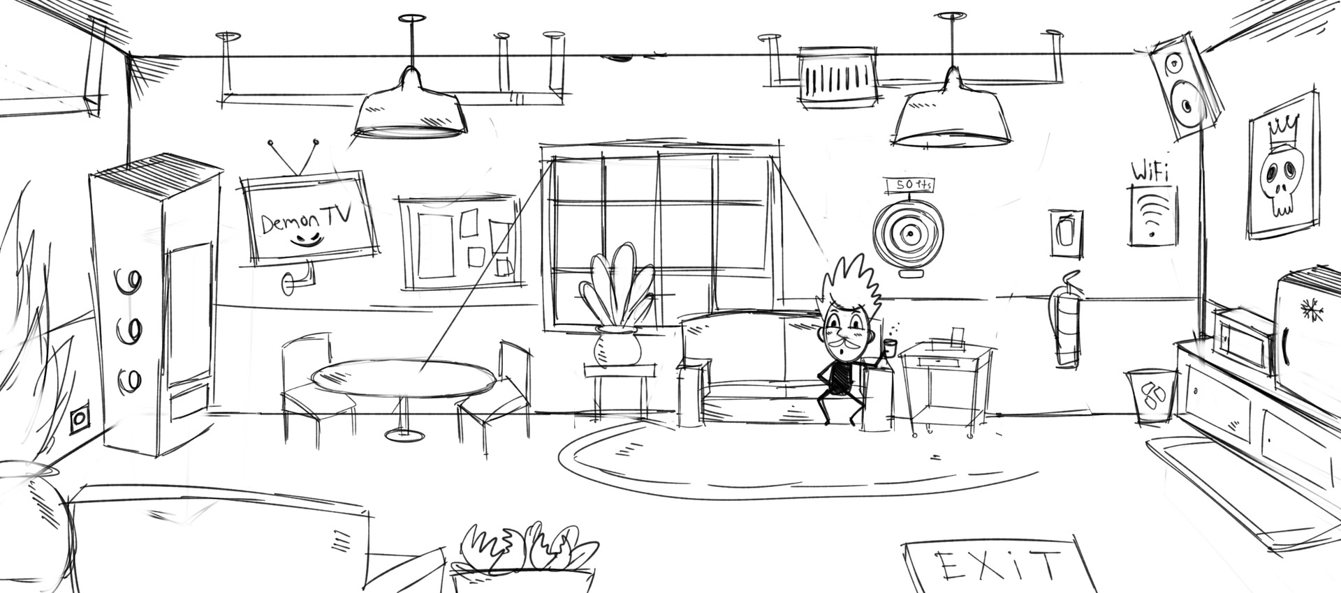 Early sketch: Staff room