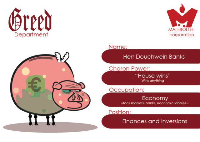 Concept Art - Head of Greed Department: Herr Douchwein Banks